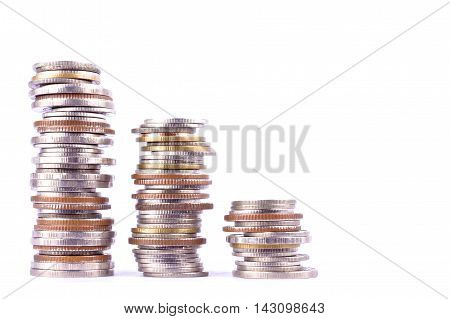 growing money graph on a row of coin on white background finance business isolated