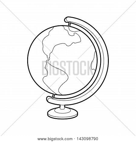 Globe icon in outline style isolated on white background. Geography symbol