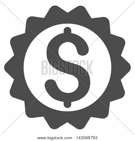 Financial Seal icon. Vector style is flat iconic symbol with rounded angles, gray color, white background.