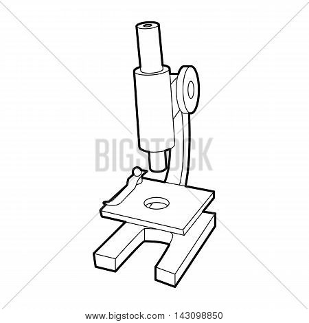 Microscope icon in outline style isolated on white background. Research symbol