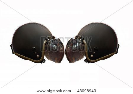 Two motorcycle helmet isolated in black and white