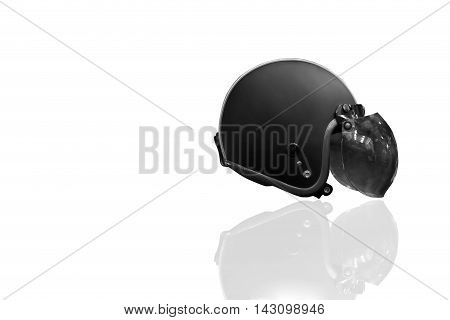 Motorcycle helmet isolated in black and white
