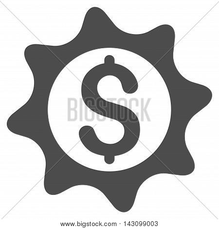 Money Seal icon. Vector style is flat iconic symbol with rounded angles, gray color, white background.