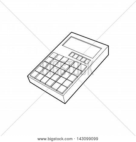 Calculator icon in outline style isolated on white background. Calculations symbol