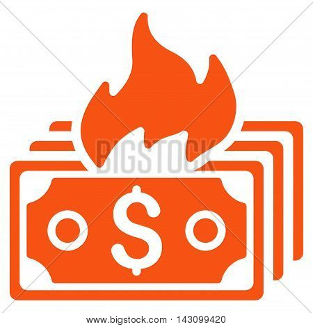 Burn Banknotes icon. Vector style is flat iconic symbol with rounded angles, orange color, white background.