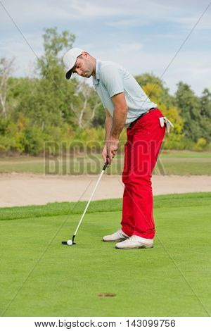 Golfer putting on green, toned image, vertical image