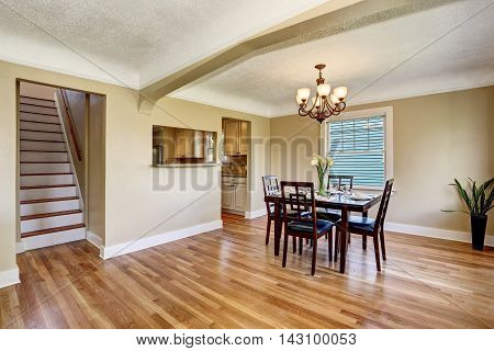 Open Floor Plan Dining Area. View Of Stairs.