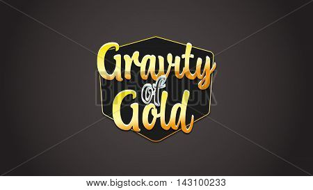3D badge logo design. Modern vector with gold style. Gravity gold label. Isolated 3D solid logo. Badge icon logo illustration.
