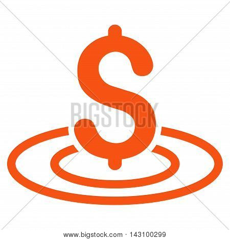 Money Area icon. Vector style is flat iconic symbol with rounded angles, orange color, white background.