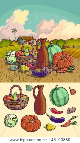 Autumn harvesting. Vector illustration of group of many fruit and vegetable on autumn landscape. Fresh vegetables and fruits. Healthy Food.
