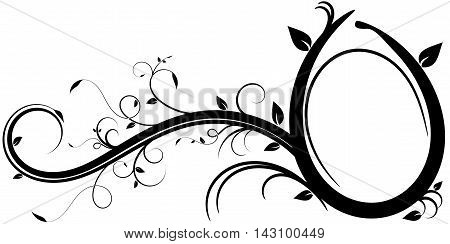 Decorative illustration of a floral design elements with an oval frame