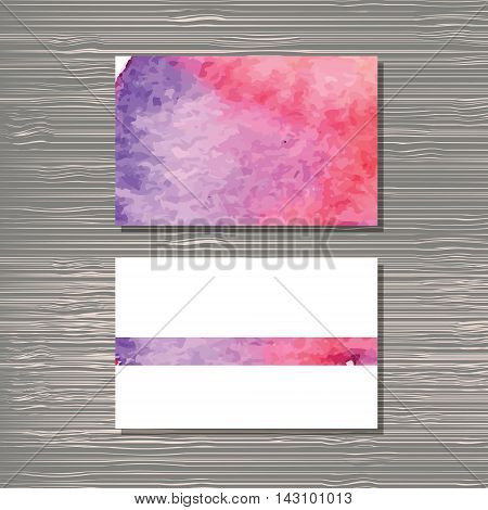 Creative template for designer photographer or studio. Vector editable pattern with front and back side visit cards. Watercolor style