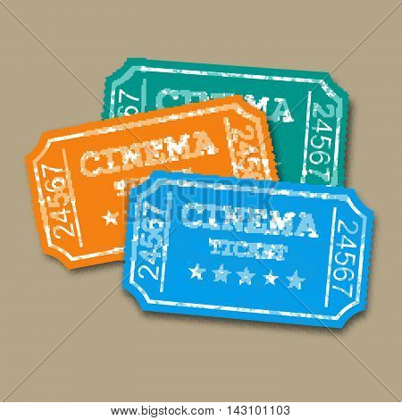 Realistic retro paper cinema tickets. vector Illustration on brown background.