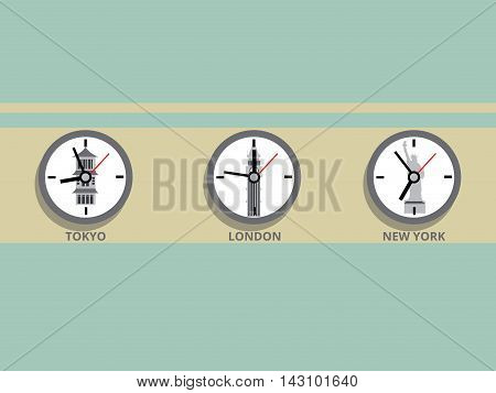 Clock in different time zones. Cartoon colorful vector illustration