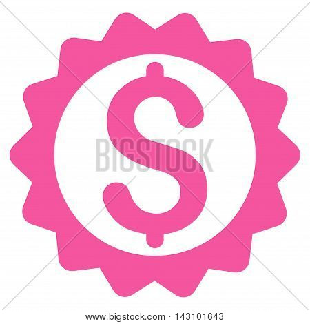 Financial Seal icon. Vector style is flat iconic symbol with rounded angles, pink color, white background.