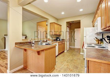 Kitchen Room Interior With Tile Floor. Open Floor Plan