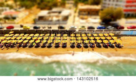 umbrellas on beach tilt shift greece alepochori