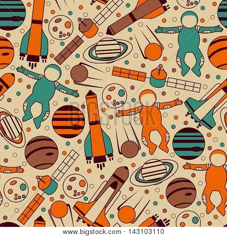 Seamless Space Pattern with Planets, Astronauts and etc