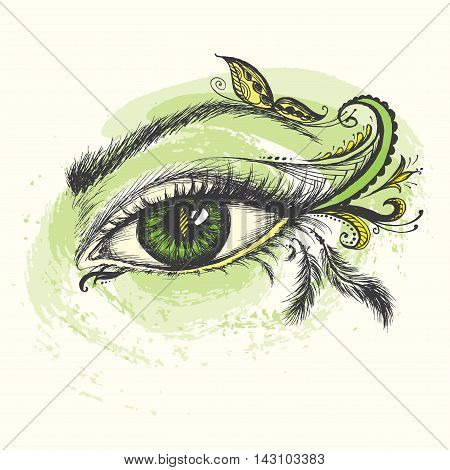 Eye hand drawn with doodle make up vector illustration.