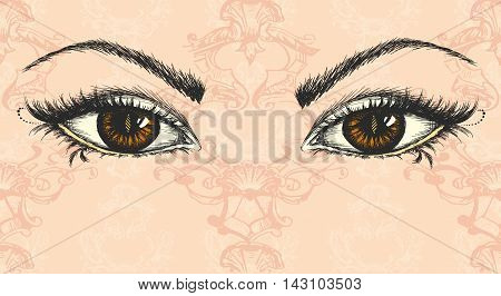 pair of eyes hand drawing vector illustration