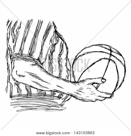 illustration vector doodle hand drawn sketch of closeup referee holding basketball isolated on white background