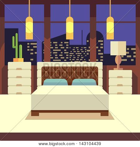 Bedroom interior in flat design style with home furniture. Vector illustration