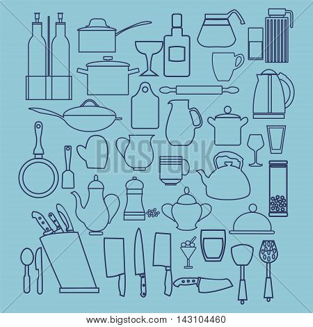 Linear flat design illustration of collection kitchenware silhouette kitchen and restaurant icon set Outline graphic symbols for kitchen interior design.