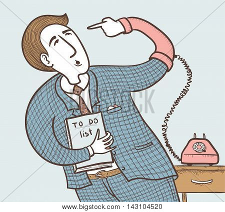 Businessman with old telephone (want to do well do it yourself). color version