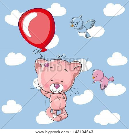 Cute Kitten with balloon and two birds