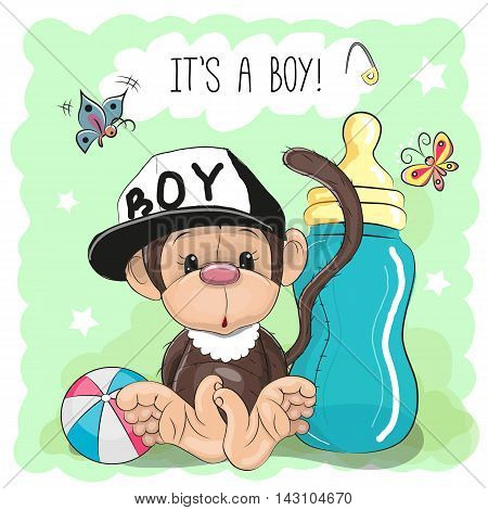 Cute Cartoon Monkey boy with feeding bottle