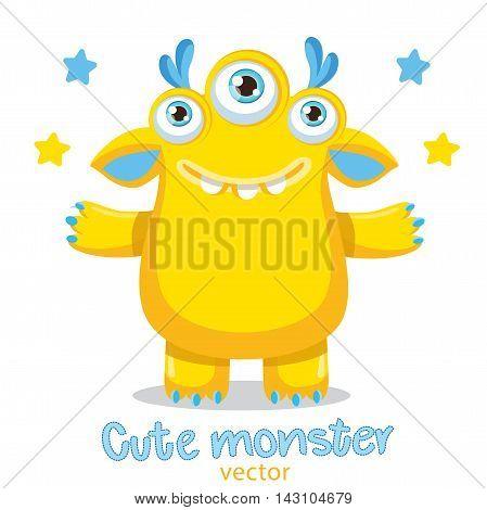 Funny Cute Monster Vector Illustration. Cartoon Yellow Monster Mascot. Friendly Monster Meme. True Happy Face.