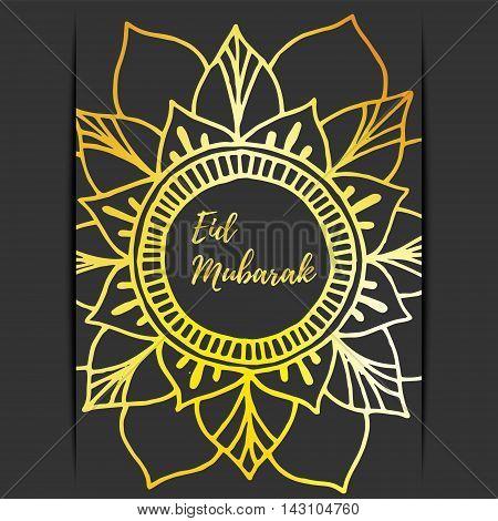 Greeting card of Eid Mubarak holiday. Golden mandala on dark background. Vector illustration