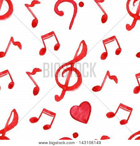 Red notes treble bass clef love music seamless pattern