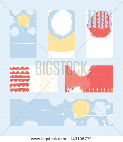 Bright abstract business cards hand drawn with brush and stripes brush blobs and smears. Red yellow blue accents. Vector illustration set good for print or presentation design with place for text.