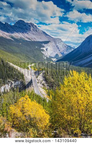 Canadian Rockies, Banff National Park. The picturesque canyon in sunny autumn day. At the edge of canyon takes excellent highway