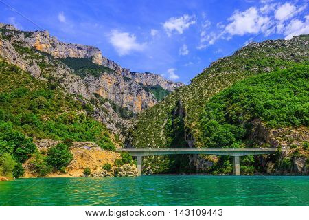 The magnificent bridge over the canyon and river Verdon.  National park Merkantur, Provence, France