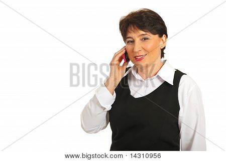 Mature Business Woman Speak To Cellphone