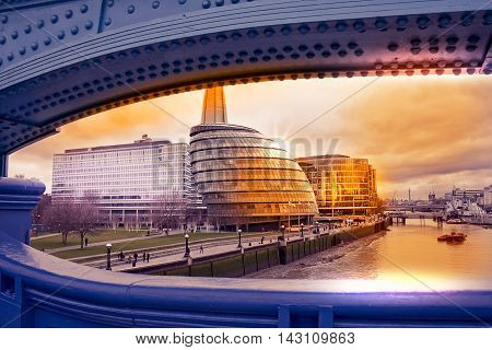 Cityscape Of London With City Hall View From Tower Bridge At Sunset
