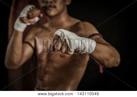 hand showing fist boxing in thailand, The battle