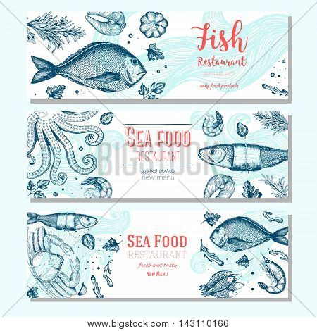 Seafood vintage design template. Horizontal banners set. Vector illustration hand drawn linear art. Fish and seafood restaurant menu. Hand drawn sketch seafood vector banners