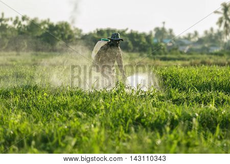 farmer spraying pesticide, The campaign does not use chemicals