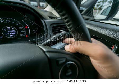Car interior wheel controls and turn signal details