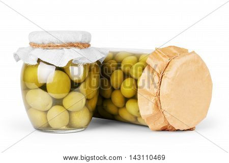 Green olives preserved in bank bottle food, closeup, isolated, wet, vegetarian, meal, steel,