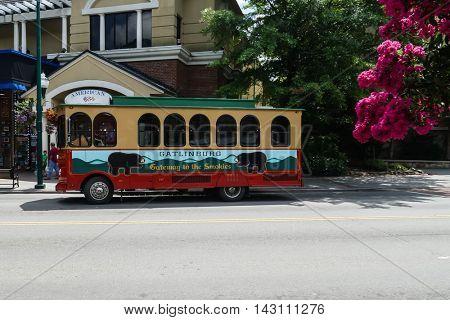 GATLINBURG-AUGUST 8: Transportation for tourists in Gatlinburg, Tennessee, USA on August 8, 2016.