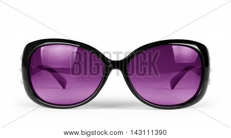 Sunglasses. Isolated on white background fashionable, pink, closeup,