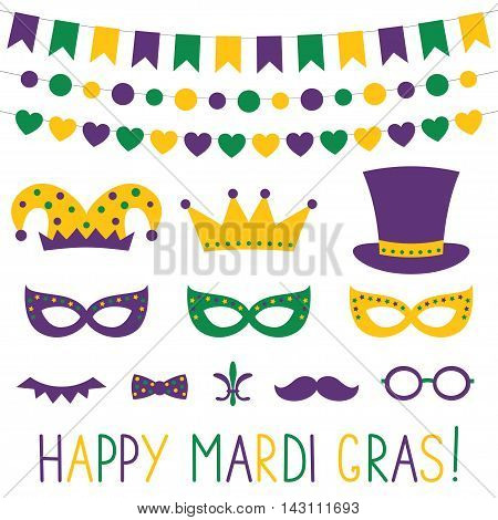 Mardi Gras banners and photo booth props set
