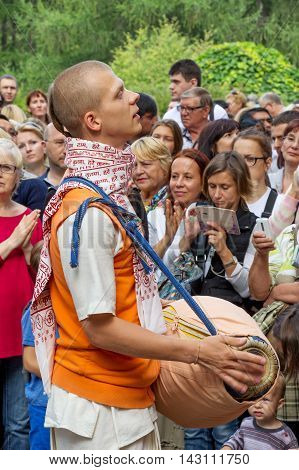 Moscow Russia - August 14 2016: Independence Day of India Celebration. Ratha Yatra. Harinam sankirtana.