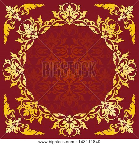 Asian style frame. Oriental background. Gold ornament on a red background. Circular ornament with angular elements. EPS 10.