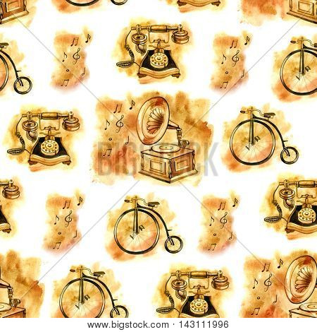 Watercolor seamless pattern of old things: gramophone, bicycle, phone. Antiques.