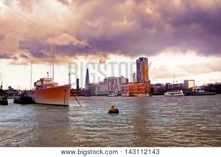 Cityscape Of London With Skyscrapers View From Thames After The Storm